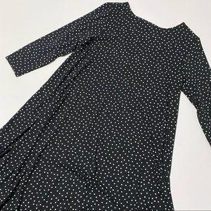 LOFT Stretch Dotted Long Sleeve Swing Dress Black